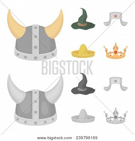 Sombrero, Hat With Ear-flaps, Helmet Of The Viking.hats Set Collection Icons In Cartoon, Monochrome