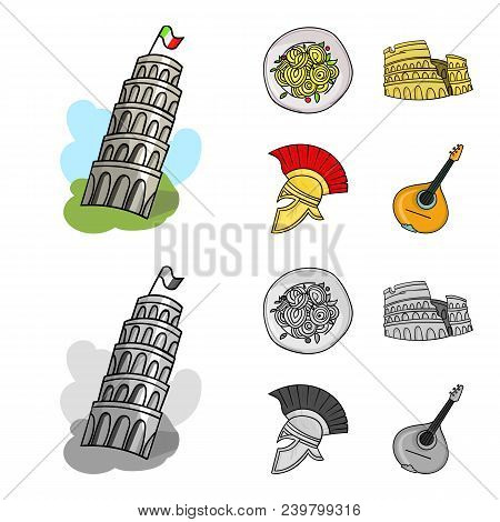 Pisa Tower, Pasta, Coliseum, Legionnaire Helmet.italy Country Set Collection Icons In Cartoon, Monoc