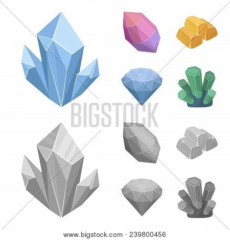 Crystals, Minerals, Gold Bars. Precious Minerals And Jeweler Set Collection Icons In Cartoon, Monoch
