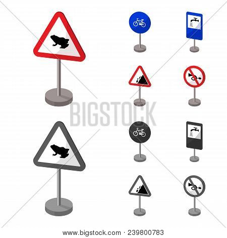 Different Types Of Road Signs Cartoon, Monochrome Icons In Set Collection For Design. Warning And Pr