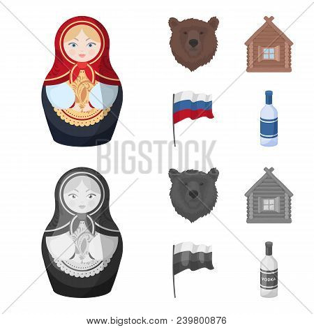 Russia, Country, Nation, Matryoshka .russia Country Set Collection Icons In Cartoon, Monochrome Styl