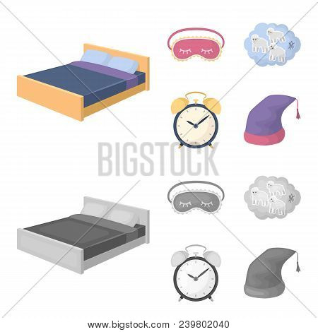 A Bed, A Blindfold, Counting Rams, An Alarm Clock. Rest And Sleep Set Collection Icons In Cartoon, M