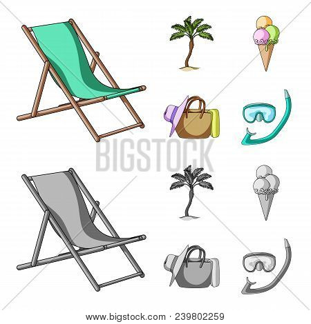 Beach, Palm Tree, Ice Cream.summer Vacation Set Collection Icons In Cartoon, Monochrome Style Vector