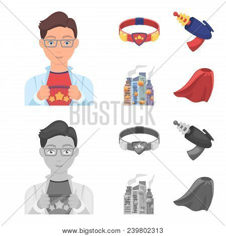 Man, Young, Glasses, And Other  Icon In Cartoon, Monochrome Style. Superman, Belt, Gun Icons In Set
