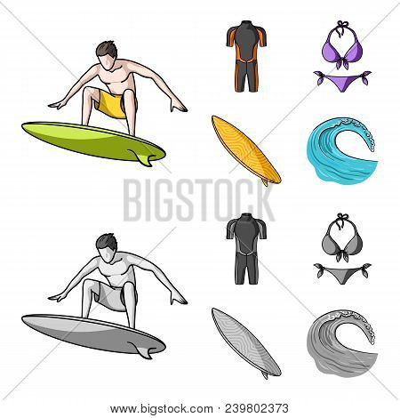 Surfer, Wetsuit, Bikini, Surfboard. Surfing Set Collection Icons In Cartoon, Monochrome Style Vector