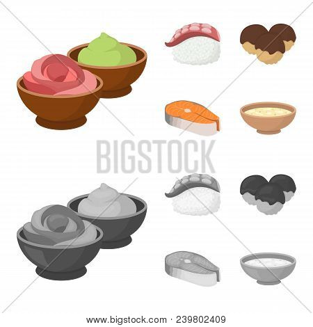 Wasabi Sauce And Ginger, Salmon Steak, Octopus. Sushi Set Collection Icons In Cartoon, Monochrome St