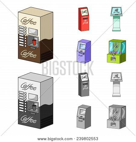 Coffee Machine, Atm, Information Terminal. Terminals Set Collection Icons In Cartoon, Monochrome Sty