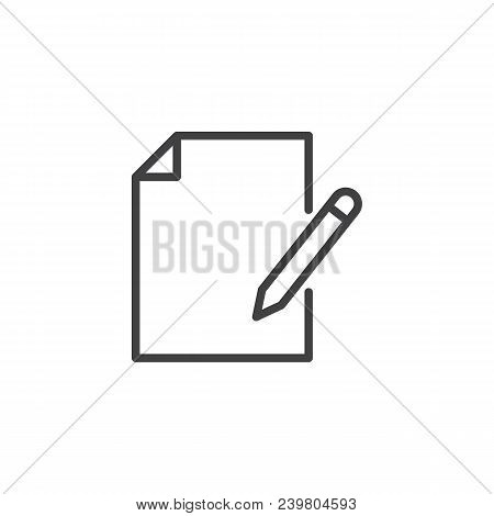 Create A New Document Outline Icon. Linear Style Sign For Mobile Concept And Web Design. Document Wi