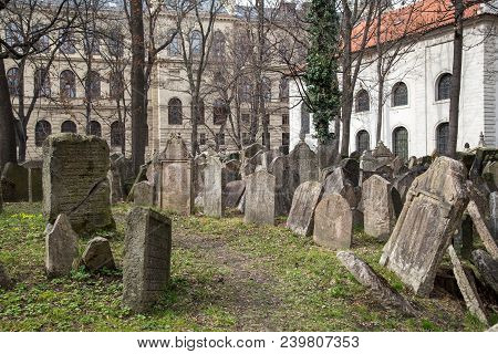 Prague, Czech Republic - March 17, 2017: Tombstones On The Old Jewish Cemetery In The Jewish Quarter