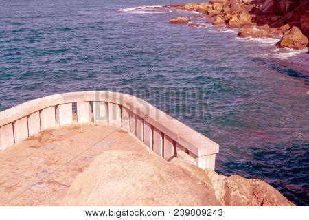 Rocky Coast Line .  View Sea Rocky Coast, Waves Breaking To The Rocky Shore. Sea Landscape