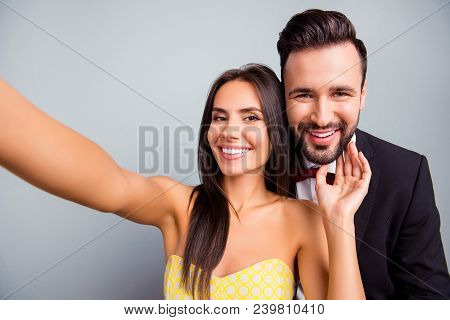 Selfie Portrait Photo Of Lovely Couple, Family, Woman Making Selfie On Smart Phone With Her Elegant