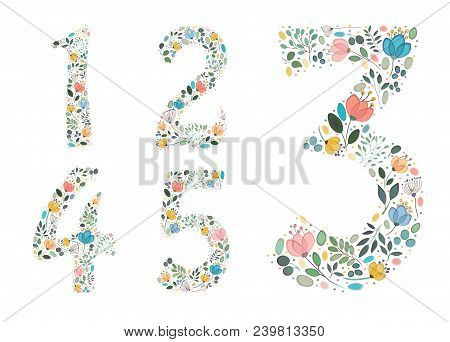 Set Of Floral Numerals. Graceful Watercolor Flowers And Plants. Painting Blurs And Spray. One, Two,