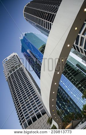 Brisbane, Australia. 19Th August 2017 - View Of The City Skyscrapers On Eagle Street  In Brisbane Cb