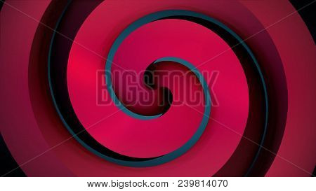 Animated Black Hypnotic Spiral On The Red Background. Red Spiral. Black Hypnotic Spiral Rotates On T