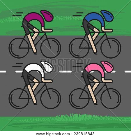 Modern Illustration Of Cyclists. Front View Of Bicyclists In Pink, Cyclamen, White And Blue Jerseys
