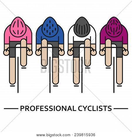 Modern Illustration of cyclists. Front view of bicyclists in pink, cycle men, white and blue jerseys isolated on white. Cycling logo, icon concept for professional bicycle race. Thin line style vector poster