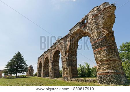 Lyon, France, May 7, 2018 : The Roman Aqueduct Of The Gier Runs Through Chaponost For More Than 6 Km