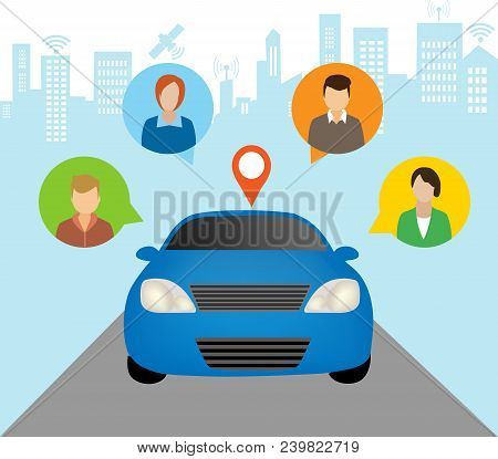 Car Sharing Concept.social Travel Concept.car Share With Group Of People