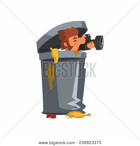 Professional male photographer paparazzi hiding in rubbish bin with photo camera vector Illustration isolated on a white background. poster