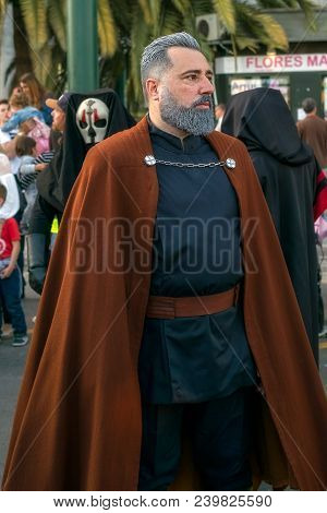 Malaga, Spain - May 05, 2018. Members Of The 501st Legion Spanish Garrison Dressed As Count Dooku, S