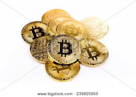 Bitcoin Coin Golden Coin,stack Of Cryptocurrencies Bitcoin Isolated On White Background,bitcoin Coin