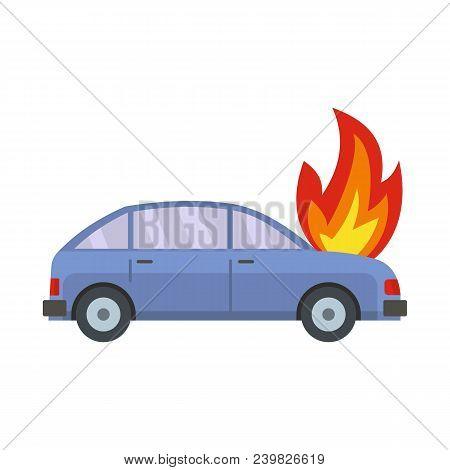 Burning Car Icon. Flat Illustration Of Burning Car Vector Icon For Web