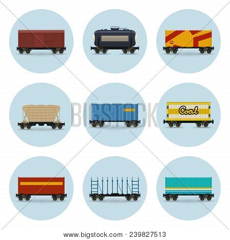 Set Of Icons, Covered And Wagon For Coal, Container On Railroad Platform, Platform For Transportatio