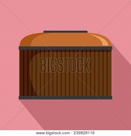 Cognac Wood Barrel Icon. Flat Illustration Of Cognac Wood Barrel Vector Icon For Web Design