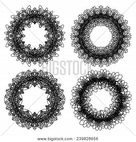 Monochrome Guilloche Design Elements, Set Of Four Isolated Lace Patterns, Black Line On White Backgr