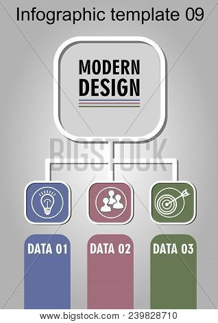Infographic Process Visualization Template, Abstract Vector With Icons And Copy Space, Three Multico