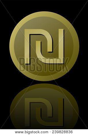 Israeli Currency Shekel Symbol , Elegant Minimalist Circle Gold Metallic Coin With Mirror Reflection