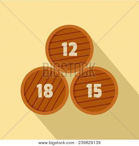 Group Of Wooden Barrel Icon. Flat Illustration Of Group Of Wooden Barrel Vector Icon For Web Design