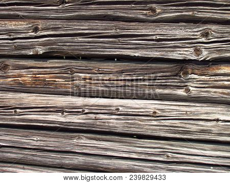 Detail Of Old Wooden Beams Of Rural Farm Buildings, Wooden Texture