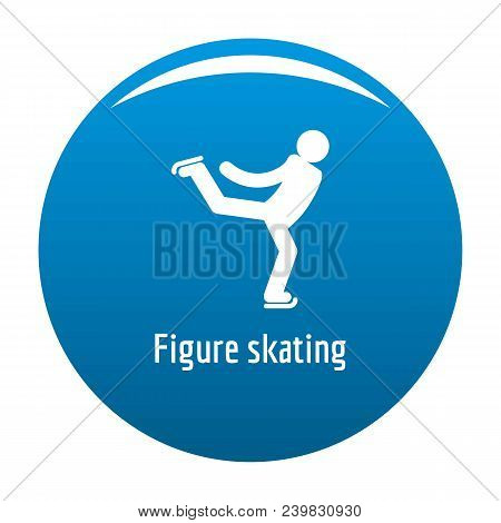 Figure Skating Icon. Simple Illustration Of Figure Skating Vector Icon For Any Design Blue