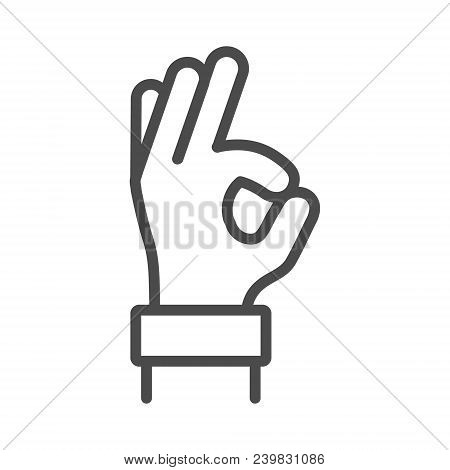 Okay Hand Outline Line Icon, Vector Ok Symbol Isolated Positive Black Sign. Gesture Okay Line Icon,