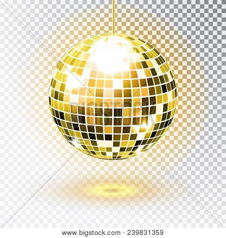 Golden Disco Ball. Vector Illustration. Isolated. Night Club Party Light Element. Bright Mirror Silv