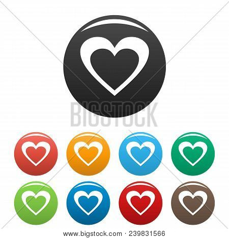 Huge Heart Icon. Simple Illustration Of Huge Heart Vector Icons Set Color Isolated On White