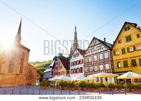 Market Square Of Esslingen And Spire Of Church Of Our Lady Frauenkirche In The Distance, Germany, Eu