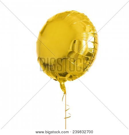 holidays, birthday party and decoration concept - close up of inflated helium balloon over white background