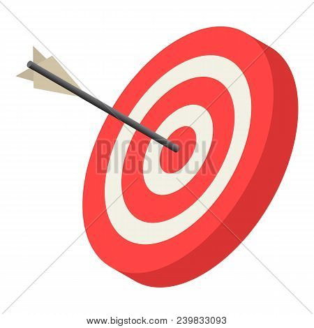 Red Archery Target Icon. Isometric Of Red Archery Target Vector Icon For Web Design Isolated On Whit