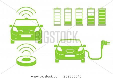 Wireless Car Charging Station Symbol. Electric Car Charging Icon Isolated. Electric Vehicle Green El