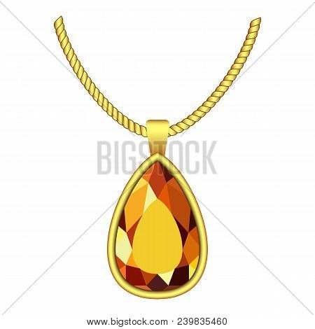 Yellow Topaz Jewelry Icon. Realistic Illustration Of Yellow Topaz Jewelry Vector Icon For Web Design