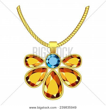 Yellow And Blue Topaz Jewelry Icon. Realistic Illustration Of Yellow And Blue Topaz Jewelry Vector I