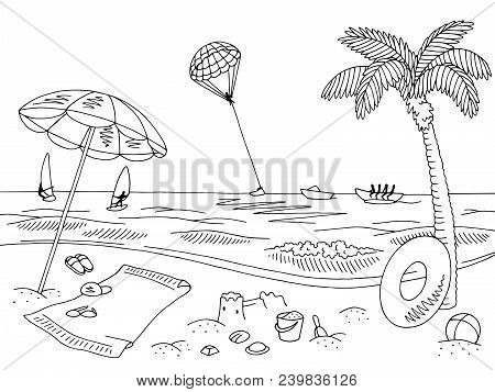 Sea Coast Beach Graphic Black White Landscape Sketch Illustration Vector