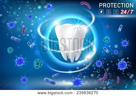 Teeth Protection Concept Vector Realistic Illustration. Oral Care, Dental Health Concept Design Temp