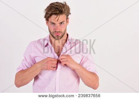 Fashion And Confidence Concept. Man With Strict Face Isolated On White Background, Copy Space. Guy W
