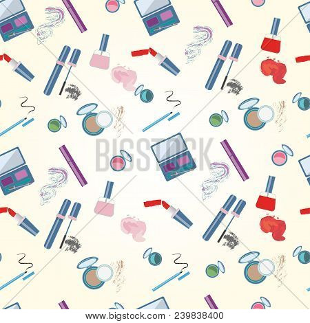 Vector Illustration Of Cosmetics Product. With Text Cosmetics Shop. Cosmetics Product. As Template O