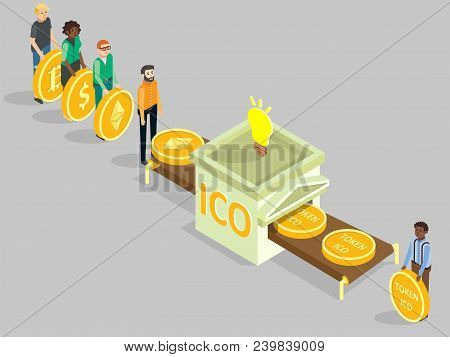 Ico Concept Vector Isometric Illustration. Multi-ethnic Group Of People With Dollar, Bitcoin, Ethere