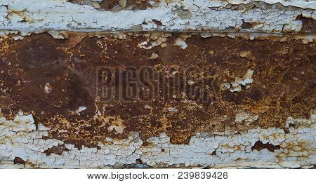 Heavy erosion metal texture faded blue color, abstract grunge background. Weathered rust metal texture background with erosion surface poster