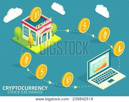 Cryptocurrency Stock Exchange Process Infographic. Vector Isometric Illustration. Buying, Selling Or